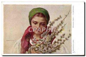 Old Postcard Illustrator Stachiewicz Wiosenne Bazie Spring