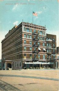 Topeka Kansas~National Hotel~Fire Escape~Wooden Chairs on Sidewalk~1909