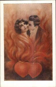 Valentine Romance Fantasy Couple in Heart Flames Artist? c1910 Postcard #2