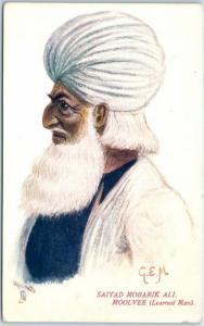 1910s TUCK'S Aquarette INDIA Postcard Saiyad Mobarik Ali Moolvee (Learned Man)