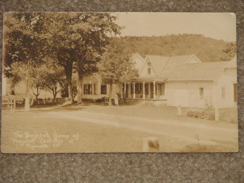 RPPC, Boyhood Home of President Calvin Coolidge, at Plymouth, Vt., used