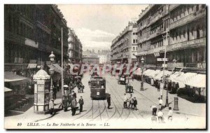 Old Postcard The Lille Faidherbe Street and the Stock Exchange