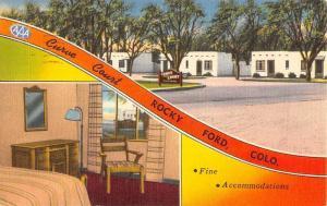 Rocky Ford Colorado Curve Court Multiview Linen Antique Postcard K20315