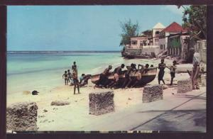 Hauling up Fishing Boat Barbados Postcard 3570