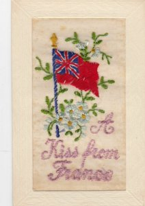 Embroidered 1914-18 ; Allied Flag , A Kiss from France