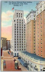 Durham, NC Postcard 111 Corcoran Street Building & Washington Duke Hotel Linen