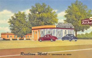 Cincinnati OH Roselawn Motel Webbie's Drive-In Restaurant Curt Teich PC