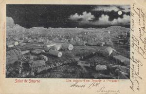 Smyrne Turkey Pergame Temple Ruins at Night Vintage Postcard JD933386