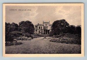 Hamburg Germany, Villa an der Alster, Vintage Postcard