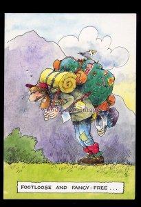 BES010 - Backpacker - Footloose & Fancy Free - comic postcard by Besley
