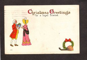 Christmas Greetings Postcard Loyal Friend Carte Postale Couple Hat Gifts