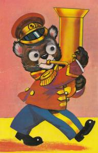 Trombone Orchestra Bear Player with Glass Eyes Old Postcard