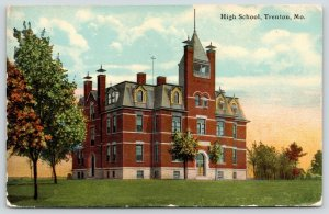 Trenton Missouri~High School~2nd Empire Architecture~Mansard Roof~1912 Postcard