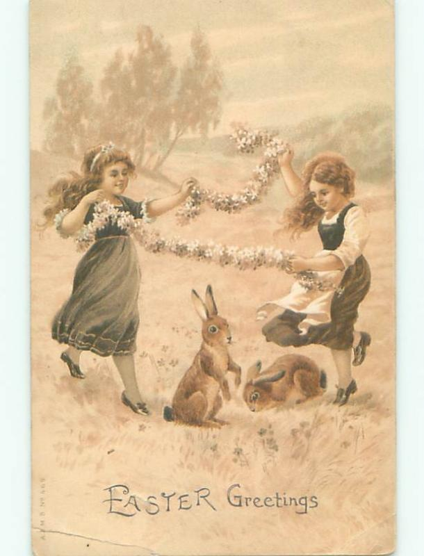 Pre-1907 easter PAIR OF CUTE GIRLS PLAY WITH THE BUNNY RABBITS W7370