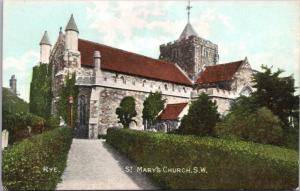 St. Mary's Church Rye England UK East Sussex Antique Postcard E21