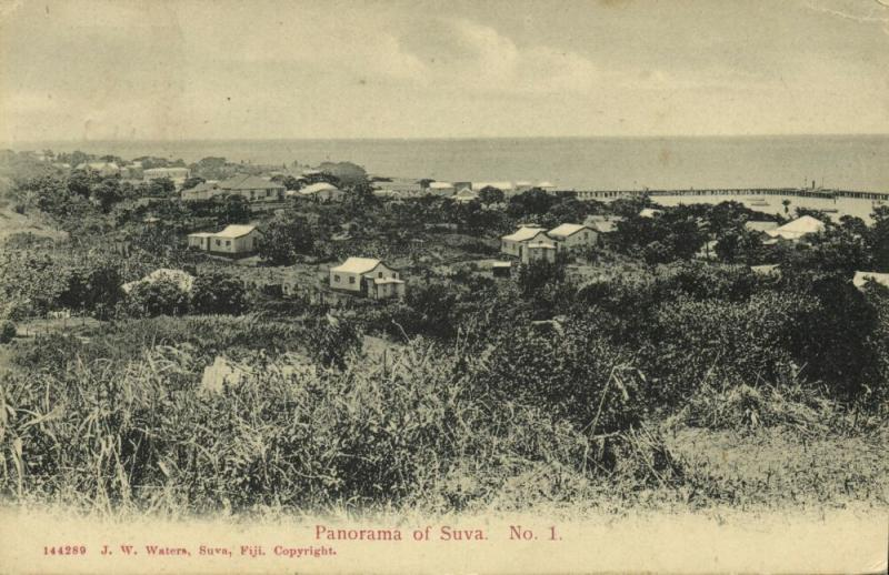 fiji islands, SUVA, Panorama (1913) J.W. Waters 144289, Stamp