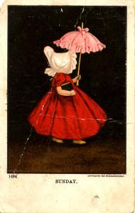 Sunbonnet Girl (#1494) - Sunday. Artist: Wall     (heavy crease)