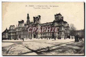 Old Postcard Paris Hotel de Ville General view