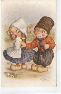 J.Ibañez. Dutch couple. Caricature Humorous Spanish postcard 1920s