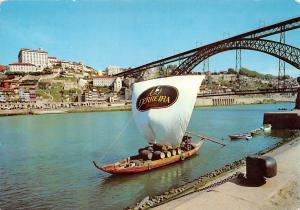 Portugal Porto The Duoro River boat and partial view of City
