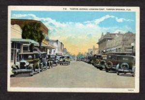 FL Ave TARPON SPRINGS FLORIDA Postcard PC Old Cars