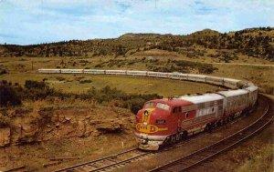 Santa Fe Railroad Train Streamliner Raton Pass New Mexico Fred Harvey postcard