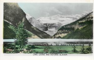 Alberta~Lake Louise & Victoria Glacier~Colorized Real Photo Postcard