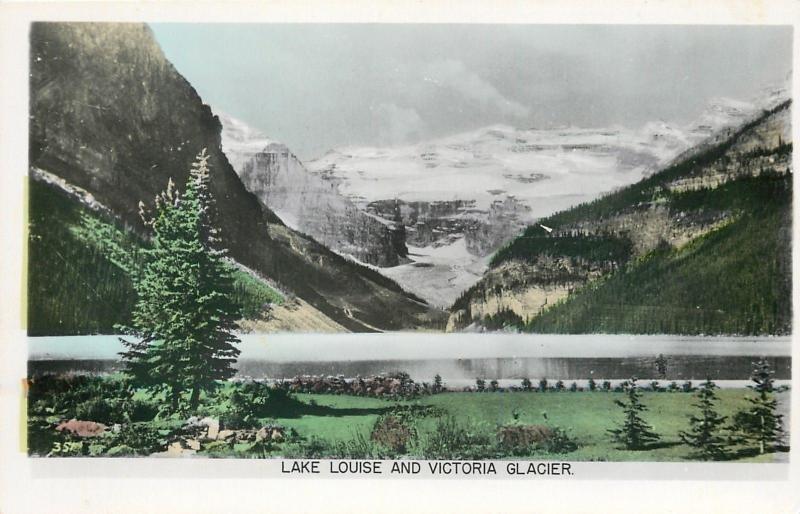 Alberta~Lake Louise & Victoria Glacier~Colorized Real Photo Postcard