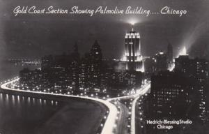 Illinois Chicago Gold Coast Section Showing Palmolive Building At Night Real ...