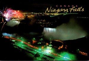 Canada Niagara Falls Aerial View Of Falls At Night With Fireworks