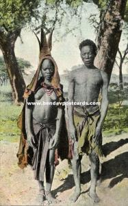 german south west africa, Native Herero Man with Daughter, Hereroneger (1910s)