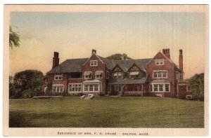 Dalton, Mass, Residence Of Mrs. F. G. Crane