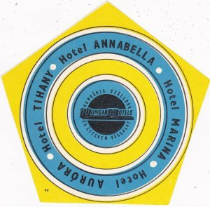 Hungary Hotel Tihany Annabella Marina & Aurora Vintage Luggage Label sk3749