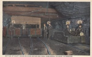 Miners at bottom of shaft, Coal cars ready to Hoist to surface , 1910s