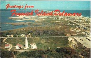 Fenwick Island Lighthouse Delaware Aerial View Greetings 1960s Postcard