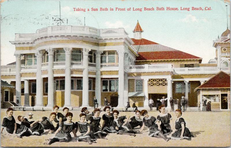 Long Beach Bath House CA California Women Sun Bath c1908 Postcard F7