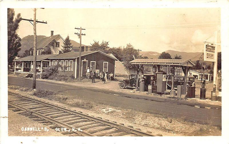 Glen NH Cannell's Socony Gas Station Pumps Railroad Tracks RPPC Postcard