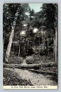 Delton WI-Wisconsin, In Fern Dell at Mirror Lake, Vintage c1915 Postcard
