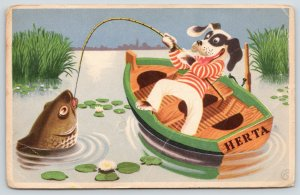 Artist~Flappy-Eared Dressed Dog~Fishing~The Idle Little Fisherman~in Dutch 1910