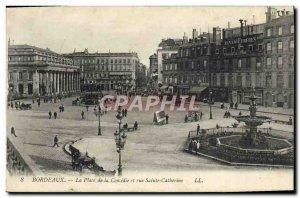 Old Postcard Bordeaux Place de la Couredie and St. Catherine Street