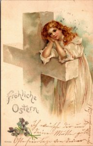 FROHLICHE OSTERN - GERMAN CROSS - LADY - VINTAGE POSTCARD