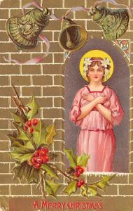 Christmas~Pretty Lady Angel In Arched Window~Pink Gown~Gold Emboss~1909 Postcard