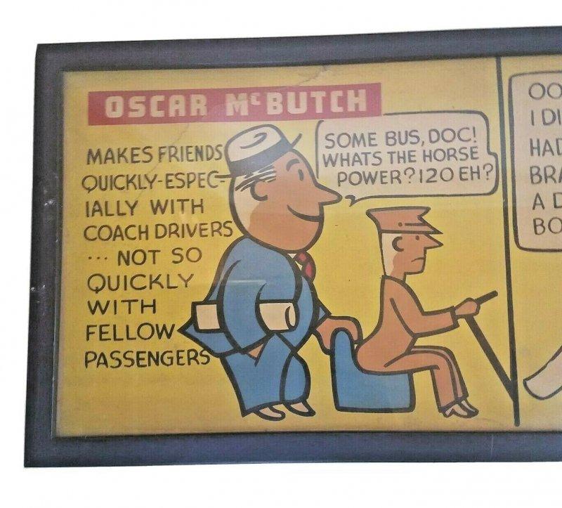 Vintage Seattle Transit Authority Oscar McButch 1940s Advertising Art Sign Comic