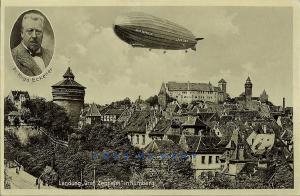 1931 Nurnberg Bavaria Postkarte: Dr. Hugo Eckener & Graf Zeppelin Visit
