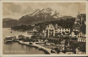 Weggis der Quai mit Pilatus Switzerland