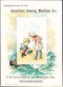 AMERICAN SEWING MACHINE CO - PHILADELPHIA / 1910s era TRADE CARD / kids at beach