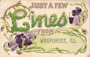 F47/ Wauponsee Illinois Postcard 1919 Greetings Few Lines From