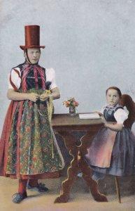 Man Dressed As Woman Sewing Antique Transvestite LGBT Postcard