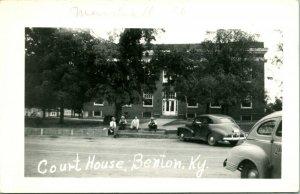Postcard RPPC 1940s Benton Kentucky KY Marshall County Courthouse Street Cars