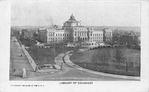 Washington DC Library of Congress Statue General view Postcard